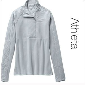Athleta NWOT Grey Quilted Vortex Half Zip Pullover